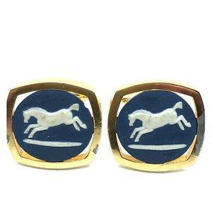 Wedgewood style Horse themed  jasperware cufflinks